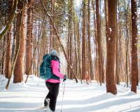 person snow shoeing