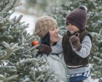 mother and child choose a Christmas tree
