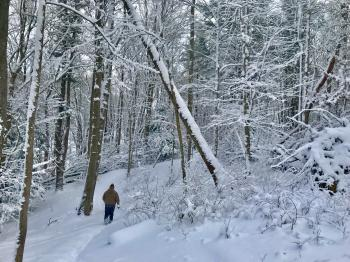 person hiking in snow